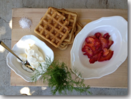 Beet, Dill and Vodka Cured Salmon & Bunnery O.S.M Waffles